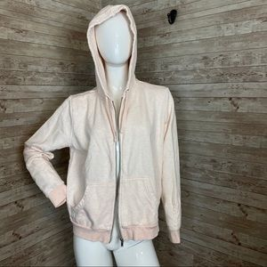 H&M nude basic hoodie zip up w pockets L